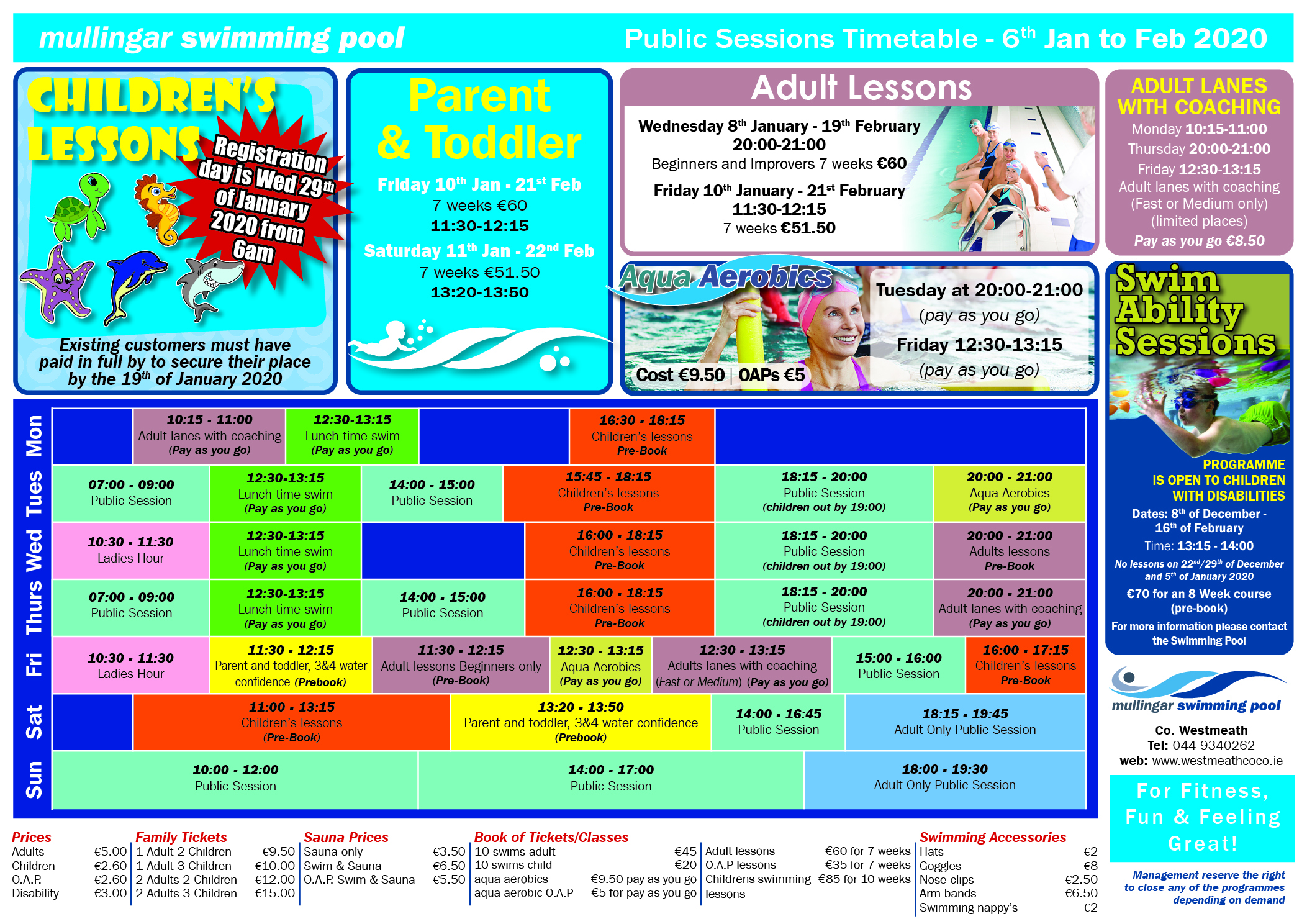 Swimming Pool Class Timetable